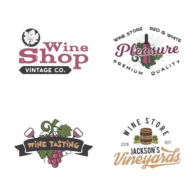 Ensemble De Logos De Vin Vecteur Premium