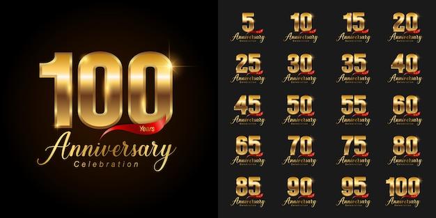 Ensemble de logotype de célébration anniversaire doré. Vecteur Premium
