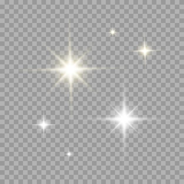 Ensemble de lumière effet évasé de couleur or et argent. rayon de soleil transparent réaliste avec des rayons et des projecteurs Vecteur Premium