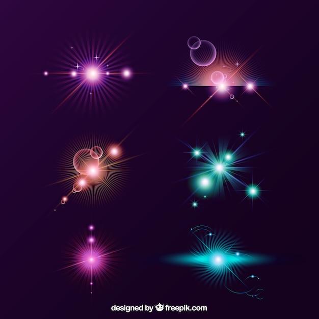 Ensemble de lumière flare colorée avec un style réaliste Vecteur gratuit