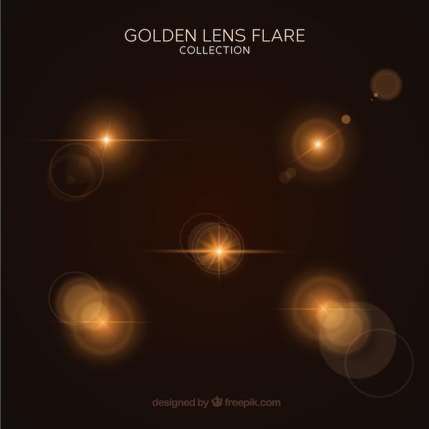 Ensemble de lumière flare or avec un style réaliste Vecteur gratuit