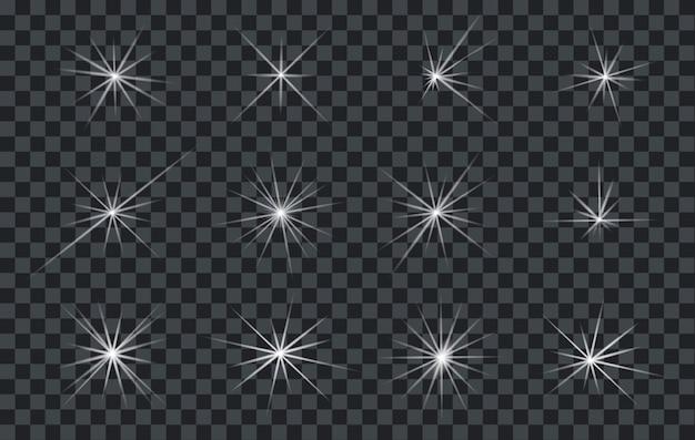 Ensemble De Lumières Abstraites Brillantes éclairants Ou étoiles Avec Un Fond Transparent Vecteur Premium