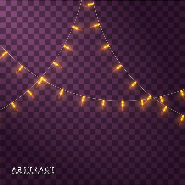 Ensemble De Lumières De Noël, Lumières Rougeoyantes Pour Les Vacances Vecteur Premium
