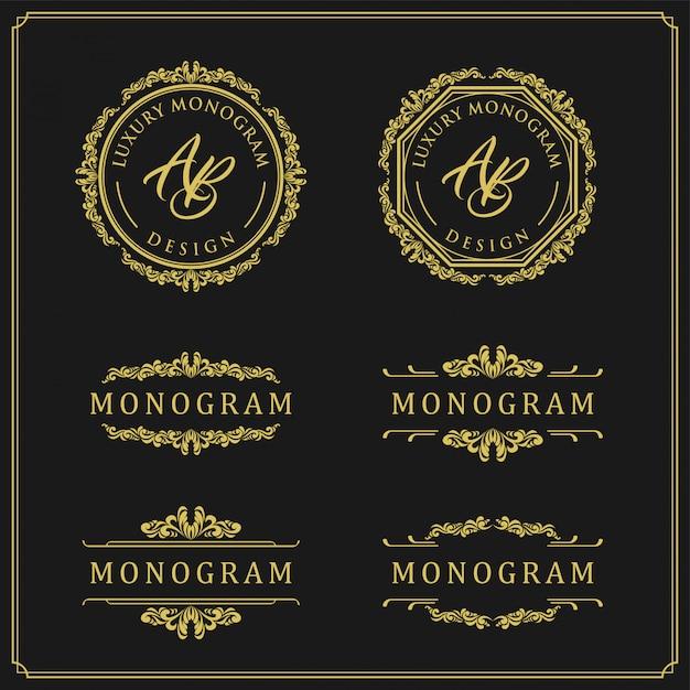 Ensemble de luxe pour mariage et décoration Vecteur Premium