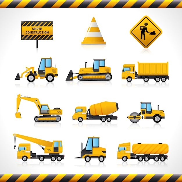 Ensemble De Machines De Construction Vecteur gratuit