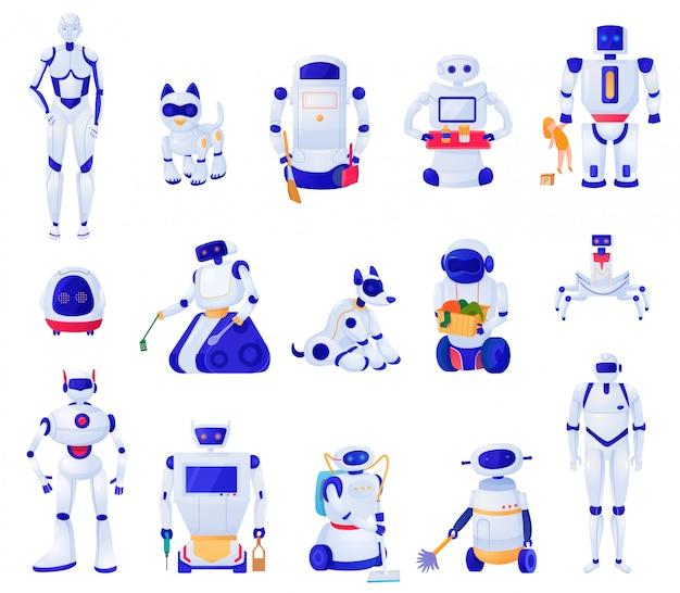 Ensemble De Machines D'intelligence Artificielle De Divers Animaux De Forme Robots Et Aides Domestiques Illustration Isolé Vecteur gratuit