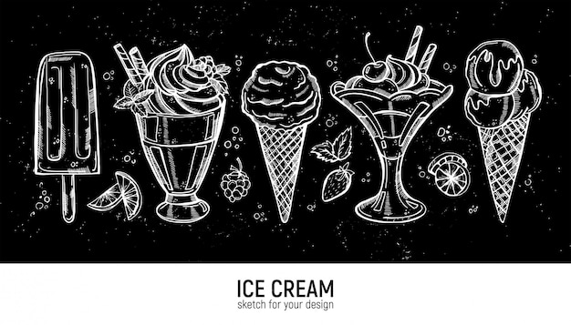 Ensemble De Main, Dessin De Crème Glacée Réaliste Vecteur Premium