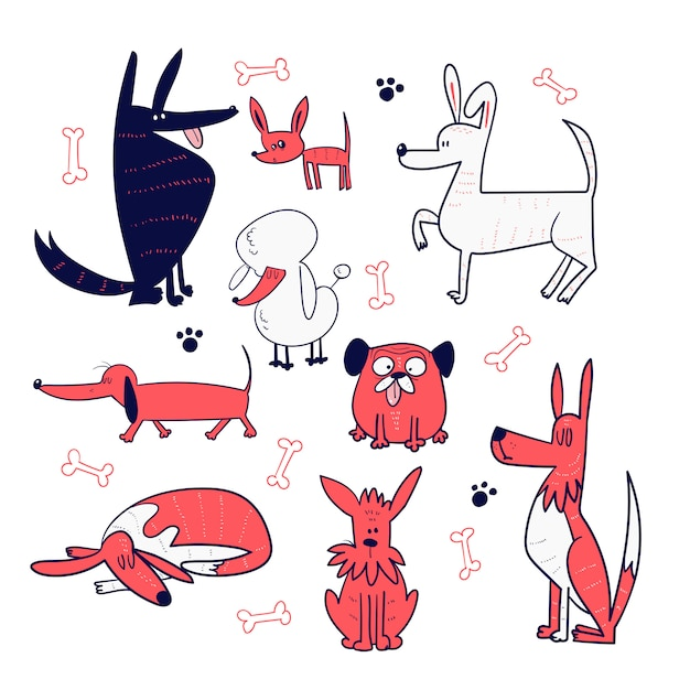 Ensemble de la main dessiner la collection de chiens Vecteur Premium