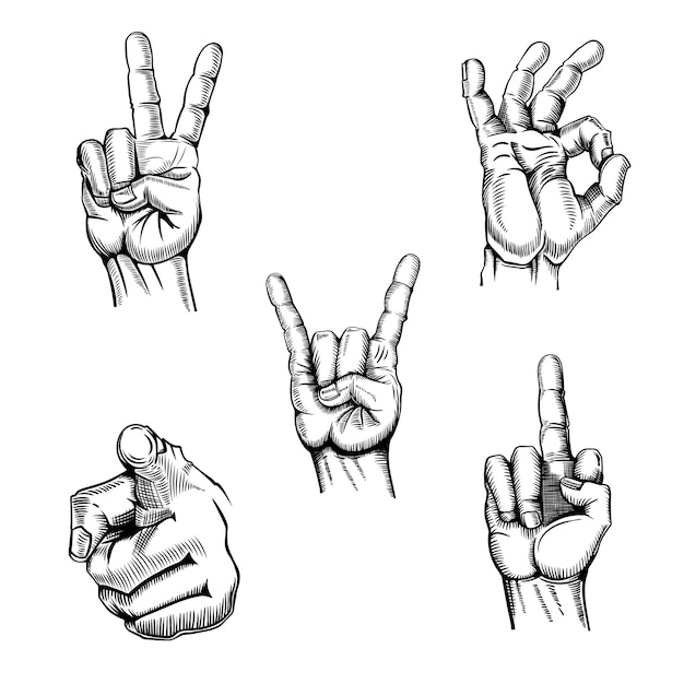 Ensemble de mains croquis gestes Vecteur Premium