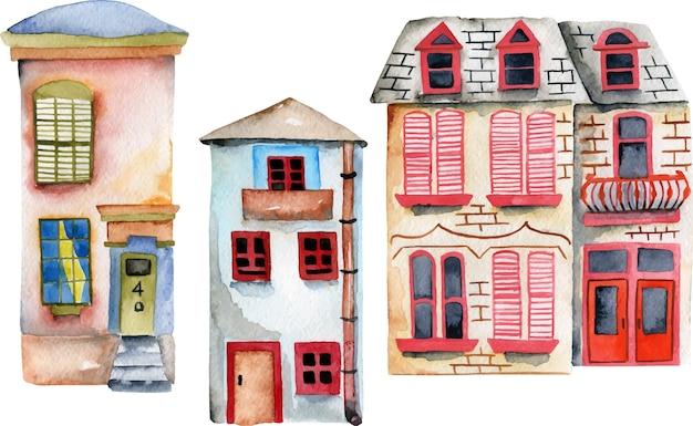 Ensemble de maisons anglaises d'aquarelle Vecteur Premium