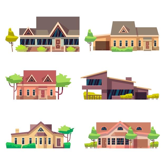 Ensemble de maisons de chalets résidentiels privés. illustration vectorielle plat coloré. collection de maisons de construction de maisons Vecteur Premium