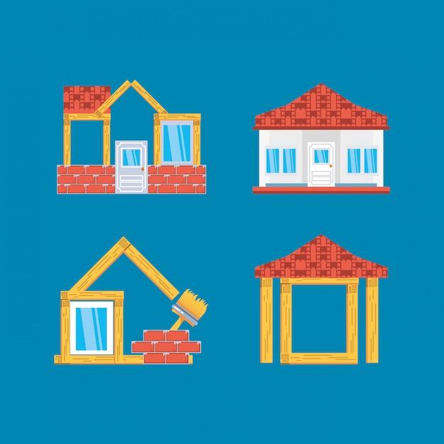 Ensemble de maisons en construction Vecteur Premium