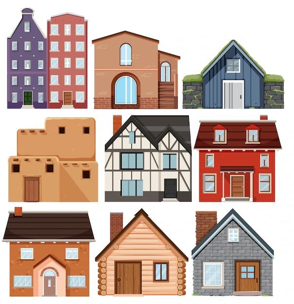 Ensemble de maisons de culture différentes Vecteur Premium