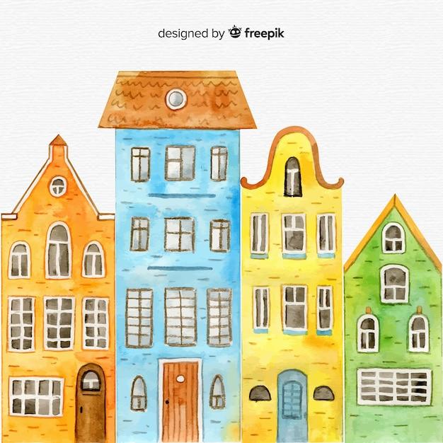 Ensemble de maisons dessinées à la main Vecteur gratuit