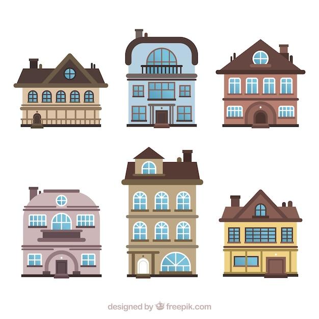 Ensemble de maisons d'habitation dans différents modèles Vecteur gratuit