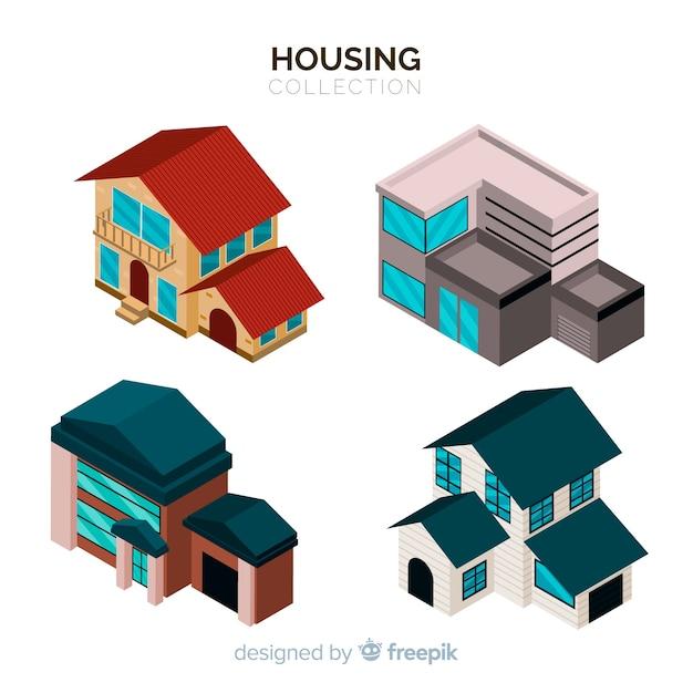 Ensemble de maisons isométriques Vecteur gratuit