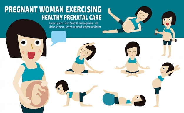 Ensemble de maman complet du corps se détendre avec pilates Vecteur Premium