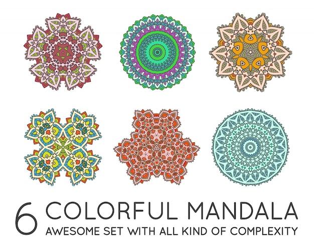 Ensemble de mandala ethnique fractal Vecteur Premium