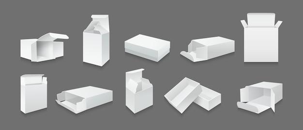 Ensemble De Maquette De Boîte De Modèle Blanc Collection De Boîtes-cadeaux D'emballage De Produit Ouvert Vecteur Premium