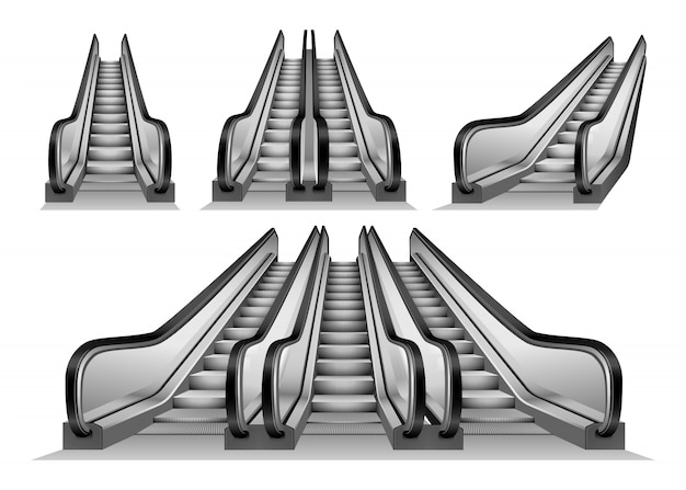 Ensemble maquette escalatorator Vecteur Premium