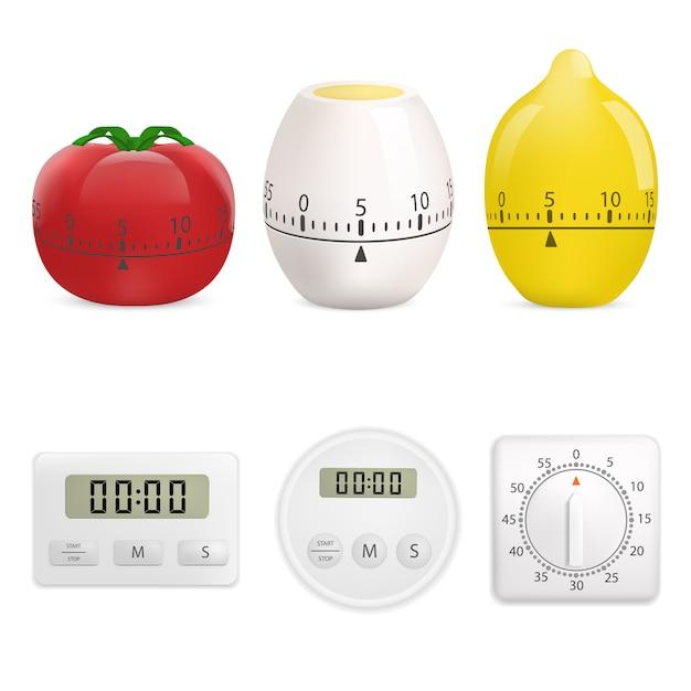 Ensemble de maquette de minuterie de cuisine. illustration réaliste de 6 maquettes de minuteur de cuisine pour le web Vecteur Premium