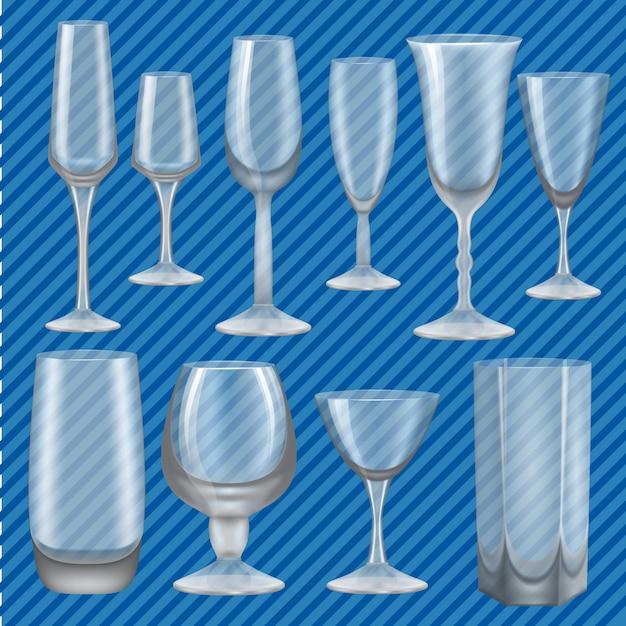 Ensemble de maquette en verre à boire. illustration réaliste de 10 maquettes en verre à boire pour le web Vecteur Premium