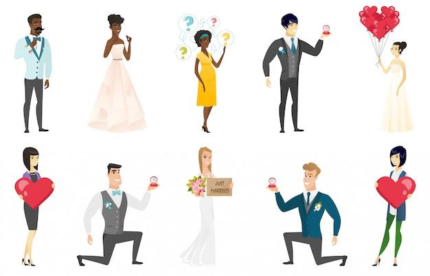 Ensemble mariée et le marié Vecteur Premium