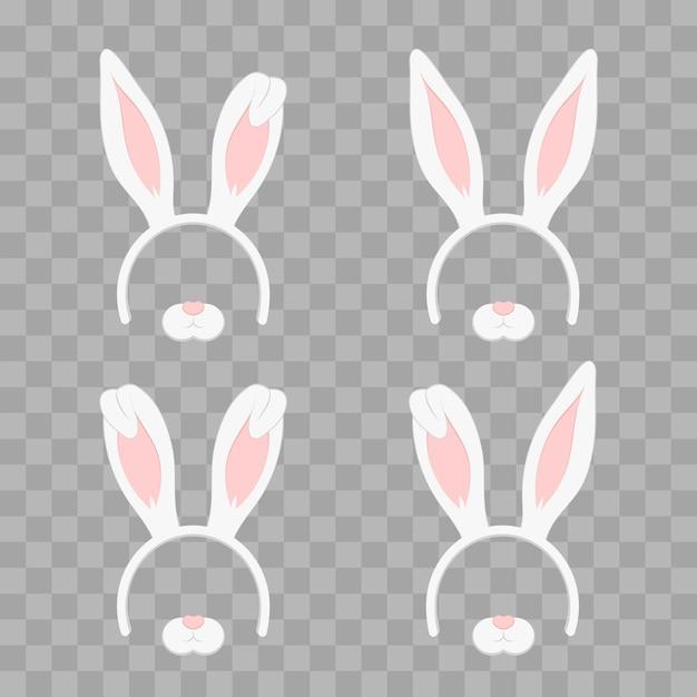 Ensemble de masque de pâques avec des oreilles de lapin isolé sur damier transparent, illustration. bandeau mignon avec des vacances ensemble de vacances. style design plat Vecteur Premium