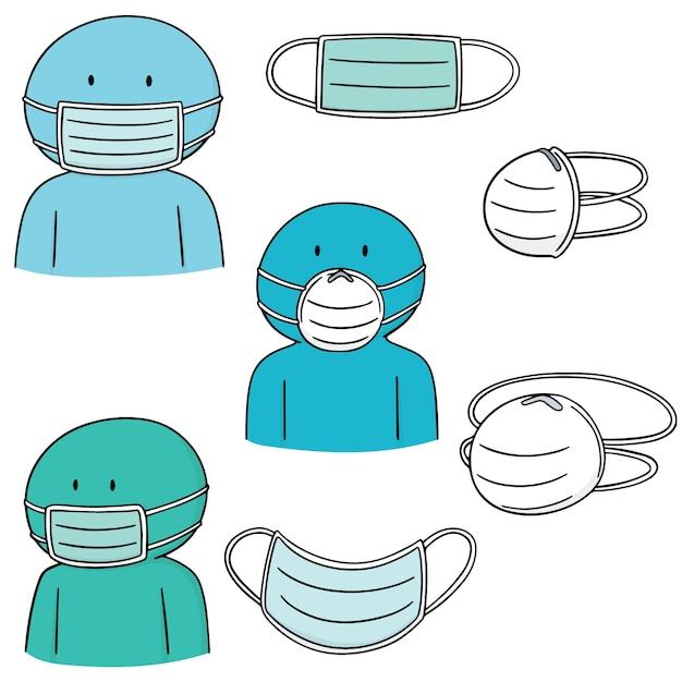 Ensemble de masque de protection médical Vecteur Premium