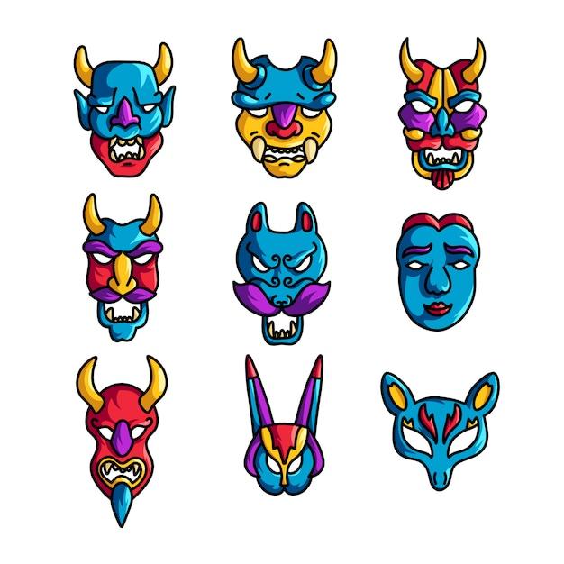 Ensemble De Masque De Vacances Coloré Avec Des Cornes Et Des Emoji Effrayants Vecteur Premium