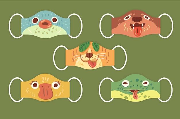 Ensemble De Masques Pour Animaux Vecteur gratuit