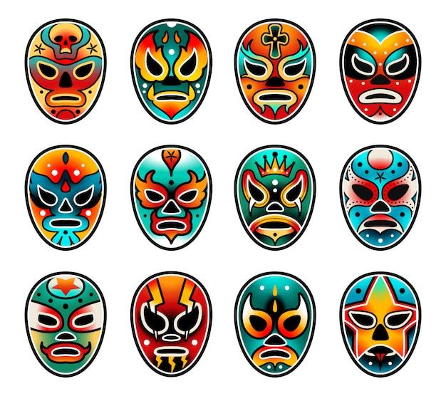 Ensemble de masques de spectacle de lutte libre lucha Vecteur Premium