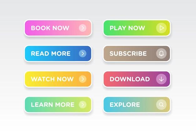 Ensemble de matériel moderne de vecteur de dégradé coloré style propre boutons icône Vecteur Premium