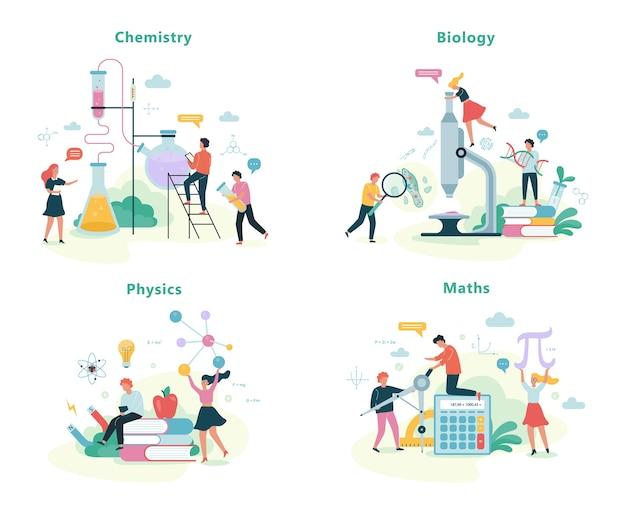 Ensemble De Matières Scolaires. Idée D'éducation Et De Science Vecteur Premium