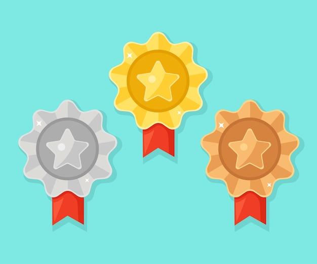 Ensemble De Médaille D'or, D'argent, De Bronze Avec étoile Pour La Première Place. Trophée, Récompense Du Gagnant Sur Fond Bleu. Insigne Doré Avec Ruban. Réalisation, Concept De Victoire. Vecteur Premium