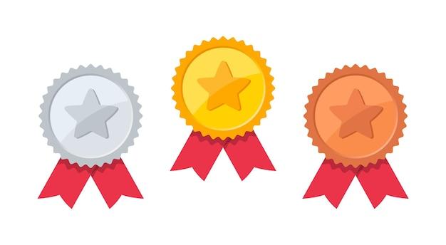 Ensemble De Médaille D'or, D'argent Et De Bronze Avec étoile. Vecteur Premium