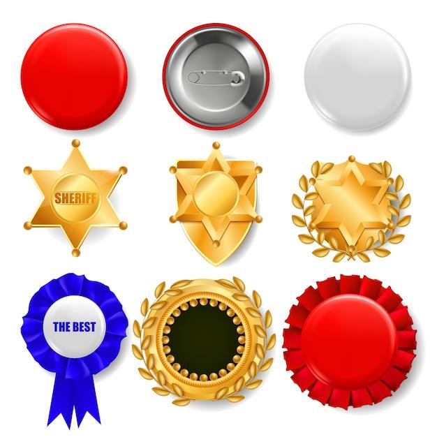 Ensemble de médailles, insignes d'épinglettes et boucliers Vecteur Premium