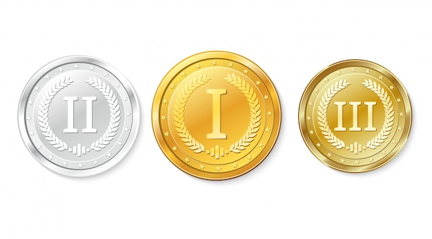 Ensemble De Médailles D'or, D'argent Et De Bronze. Prix Pour La Première, Deuxième Et Troisième Place. Vecteur Premium