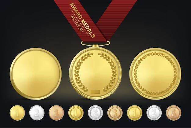 Ensemble De Médailles D'or, D'argent Et De Bronze. Vecteur Premium