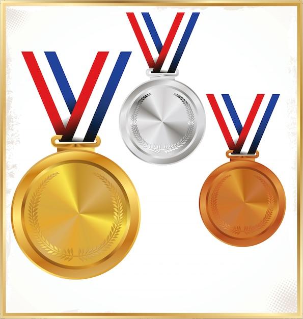 Ensemble de médailles d'or Vecteur Premium