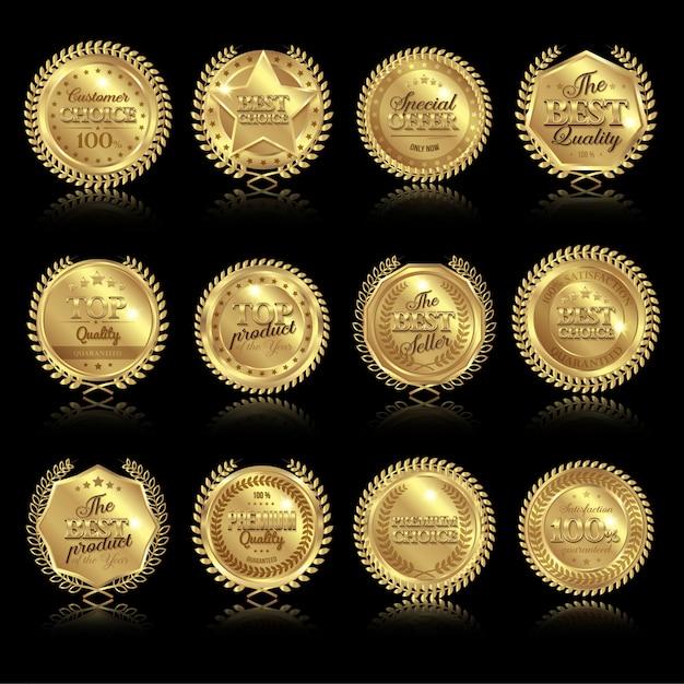 Ensemble De Médailles Avec Reflets Vecteur gratuit