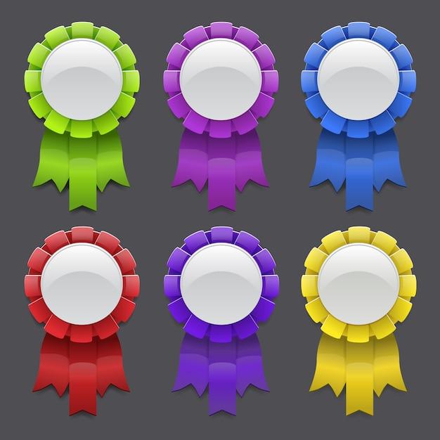 Ensemble de médailles avec des rubans Vecteur Premium