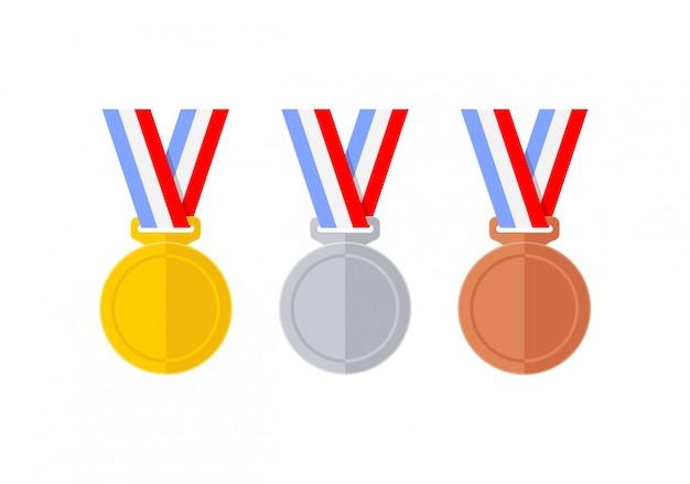 Ensemble de médailles style plat abstrait Vecteur Premium