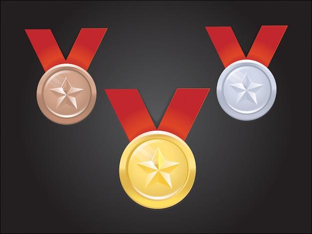 Ensemble de médailles de vecteur avec étoile Vecteur Premium