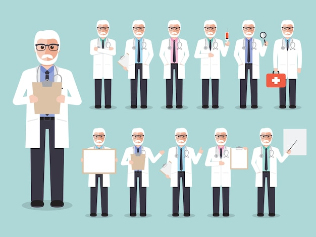 Ensemble de médecins masculins, personnel médical. Vecteur Premium