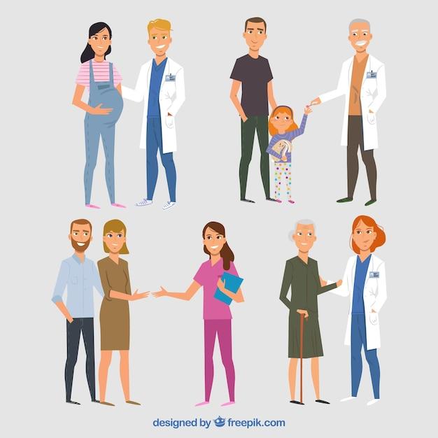 Ensemble de médecins sympathiques avec des patients Vecteur gratuit