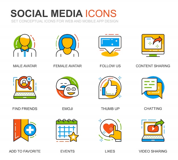 Ensemble de médias sociaux et icônes de ligne de réseau pour le site web Vecteur Premium