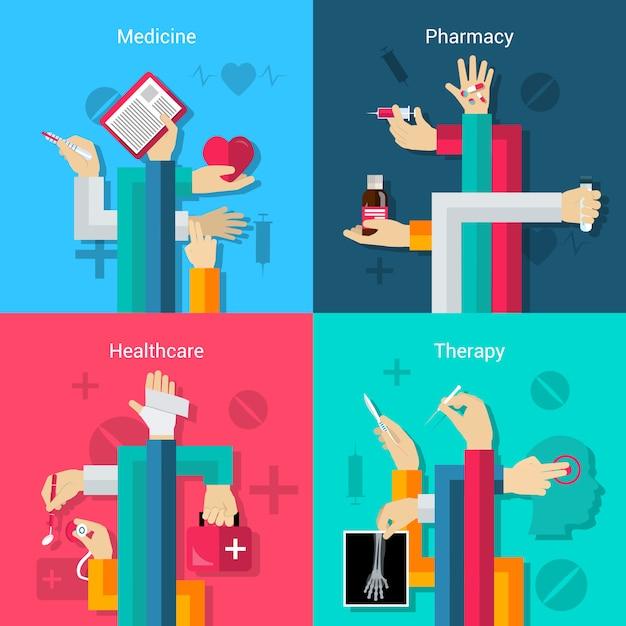 Ensemble médical mains Vecteur gratuit