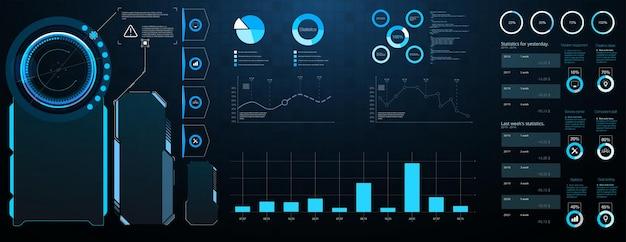 Ensemble De Méga éléments Hud. écran De Technologie De Réalité Virtuelle D'affichage Du Tableau De Bord. Abstract Hud Ui Gui Futur Système D'écran Futuriste Conception Virtuelle Vecteur Premium