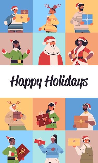 Ensemble, Mélanger, Race, Gens, Célébrer, Bonne Année, Joyeux Noël, Vacances Hiver, Célébration, Concept, Carte Voeux, Portrait Vertical, Vecteur, Illustration Vecteur Premium
